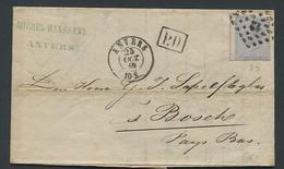 Belgium 1867 Folding Letter From Antwerpen To 's Hertogenbosch, Holland. See Anvers Mark, (Postal History), Stamps - Belgium
