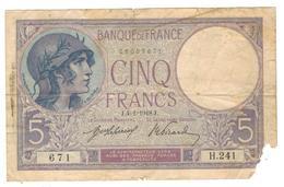 France, 5 Fr. 1918, G/VG, See Scan. - 1871-1952 Anciens Francs Circulés Au XXème