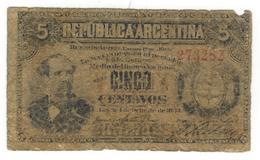 Argentina 5 Centavos 1884, P-5. G, See Scan. - Argentina