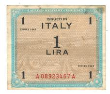 Italy, Allied Military Currency, 1 Lira, 1943, F/VF. - [ 3] Military Issues