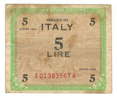 Italy, Allied Military Currency, 5 Lire, 1943, F. - [ 3] Military Issues