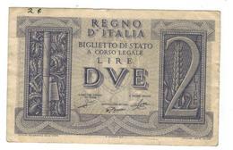 Italy, 2 Lire, 1939, VF. - [ 1] …-1946 : Kingdom