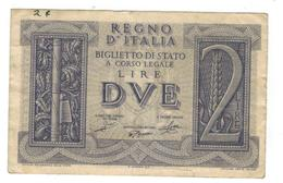 Italy, 2 Lire, 1939, VF. - Italia – 2 Lire