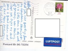 22C : Germany Flower Stamp Used On Neumunster Postcard - [7] Federal Republic