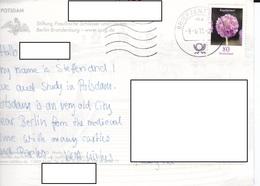 22C : Germany Flower Stamp Used On Potsdam-Sanssouci Postcard - [7] Federal Republic