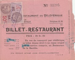 FISCAL 5+50C -YT 173+183 BILLET RESTAURANT TELEFERIQUE LA BASTILLE GRENOBLE + PUB BONAL VIN -               TDA270 - Fiscaux