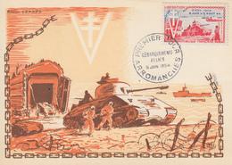 Carte  Maximum  1er  Jour   FRANCE   Débarquements  Alliés   ARROMANCHES    1954 - Cartes-Maximum
