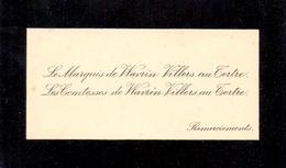 Visitekaartje - Carte Visite - Adel Noblesse - Le Marquis De Wavrin Villers Au Tertre - Cartes De Visite
