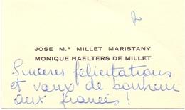 Visitekaartje - Carte Visite - Adel Noblesse - Jose M. Millet Maristany - Monique Haelters De Millet - Cartes De Visite