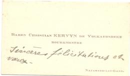 Visitekaartje - Carte Visite - Adel Noblesse - Baron & Baronne Christian Kervyn De Volkaersbeke - Nazareth - Cartes De Visite