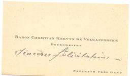 Visitekaartje - Carte Visite - Adel Noblesse - Baron & Baronne Christian Kervyn De Volkaersbeke - Nazareth  Burgemeester - Cartes De Visite