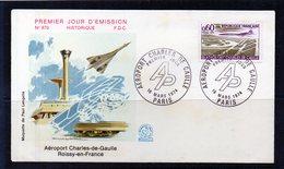 Concorde - 1er.jour Aéroport Charles De Gaulle 16/03/1974 - Postmark Collection (Covers)