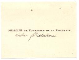 Visitekaartje - Carte Visite - Adel Noblesse - Mr & Mme De Potanier De La Rochette - Cartes De Visite