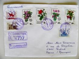Cover Sent From Russia Kaliningrad Registered 1993 Flora Flowers Sovetsk - 1992-.... Federation