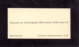 Visitekaartje - Carte Visite - Adel Noblesse - Comte & Comtesse Minette D'Oulhaye - Bruxelles - Cartes De Visite