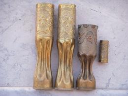 4 Douilles Décorées (artisanat Tranchée) - 1914-18