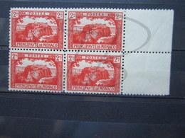 VEND BEAUX TIMBRES DE MONACO N° 61 EN BLOC DE 4 , XX-X !!! - Unused Stamps