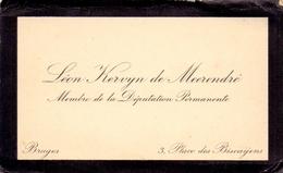 Visitekaartje - Carte Visite - Adel Noblesse - Léon Kervyn De Meerendré - Bruges Brugge - Cartes De Visite