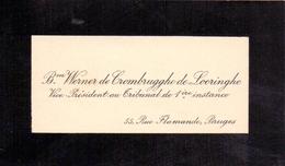Visitekaartje - Carte Visite - Adel Noblesse - Baron Werner De Crombrugghe De Looringhe - Bruges Brugge - Cartes De Visite