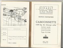 Notice  D Entretien Camionnette 1400kg  Plateau Baché Type R 2086 Renault 1957 - Véhicules