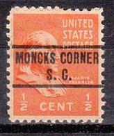 USA Precancel Vorausentwertung Preo, Locals South Carolina, Moncks Corner 734 - Vorausentwertungen