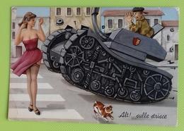 Cartolina MILITARI - Viaggiata - Postcard - Alt!... Sulle Strisce - Humour