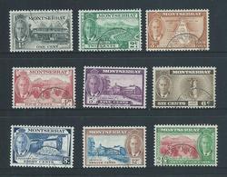 Montserrat 1951 KGVI Definitive Short Set Of 9 To 24c VFU - Montserrat