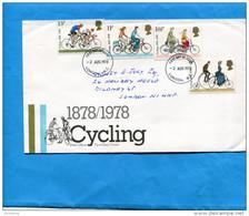 MARCOPHILIE-Lettre-Enveloppe Illustrée -FDC-ayant Circulé En1978-afft Série Cyclisme N°872-5-cycling - Ciclismo