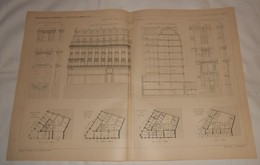 Plan D'une Maison De Rapport Rue Etienne Marcel à Paris. M. Lacau, Architecte. 1890 - Public Works