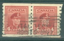 Canada: 1942/48   War Effort  [Coil]  SG393    4c   [Imperf X Perf: 8]     Used Pair - 1937-1952 Règne De George VI