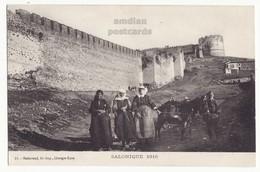 GREECE THESSALONIKI SALONICA, LOCAL WOMEN & DONKEY AT BYZANTINE WALLS, SALONIQUE RAMPARTS C1916 Postcard - Greece