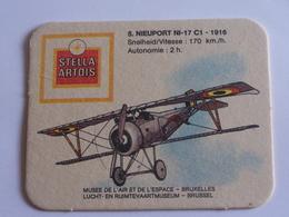 1 Sous Bocks Biere Stella Artois Avion N 5 Nieuport NI 17 C1  - 1916 Musee De L Air Et De L Espace Bruxelles - Sous-bocks