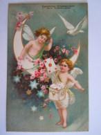 Engel Post Ange Facteur Postbode Duif Pigeon Relief Glückwunsch Zum Namenstage Circulée 1906 Wien - Angels