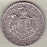 Albanie. 1 Frang Ar 1935 . Zog I.  Argent .KM# 16 - Albania