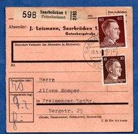 Colis Postal  --  Départ Saarbrücken-  8/6/1943 - Allemagne