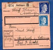 Colis Postal  --  Départ Mallingen ( Malling)  -- 24/11/1943 - Allemagne