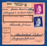 Colis Postal  --  Départ Kneuttingen-Nilvingen  ( Knuttange-Nilvange)  -- 4/12/1942 - Allemagne
