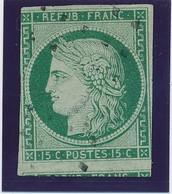15 C Vert Obl Gros Points Signé Calves B. - 1849-1850 Cérès
