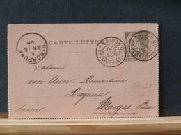 77/620 DEVANT  CARTE LETTRE 1888 OBL.  SAIGON - Alphée Dubois
