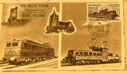 INAUGURATION  DIJON VALLORBE  1958  ELETRIFICATION - Marcophilie (Lettres)