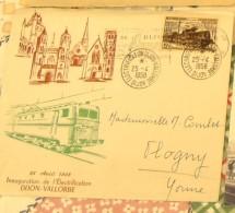 INAUGURATION  DIJON VALLORBE  1958  ELETRIFICATION SUR LETTRE - Marcophilie (Lettres)