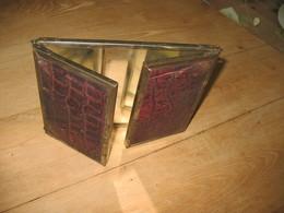 Miroir Triptyque De Voyage - Maquillage, Barbier,...- Finition Peau (fr60) - Autres Collections