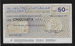 Italie - Chèque -  50 Lire - SPL - [10] Assegni E Miniassegni