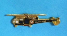 1 PIN'S  //  ** HÉLICOPTÈRE / ALOUETTE III / De La MARINE NATIONALE FRANÇAISE ** . (GF Groupe FIA) - Army