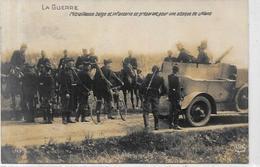 CPA Voiture Automobile Militaria Militaire écrite Auto Mitrailleuse Belge Belgique - Materiaal