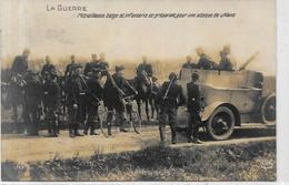 CPA Voiture Automobile Militaria Militaire écrite Auto Mitrailleuse Belge Belgique - Materiale