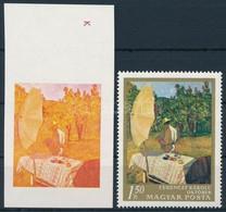 (*) 1967 Festmények III. 1,50Ft Vágott ívszéli Bélyeg Kék, Fekete és Arany Színnyomat Nélkül. A Szakirodalomban Ismeretl - Stamps