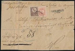 1871 Réznyomat 15kr + 1874 5kr Vegyes Bérmentesítés Ajánlott Levél El?lapon 'TATA KOMÁROM M' - Wien - Stamps
