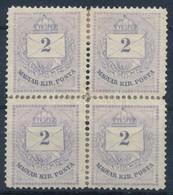 * 1874 2kr Szürkésibolya, Elvált, Bélyegragasztóval Meger?sített Négyestömb (36.000) - Stamps