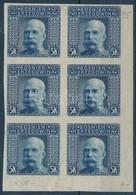 ** * Bosznia Hercegovina 1906 5K Vágott ívsarki Hatostömb, A Fels? és Alsó 2-2 Bélyeg Falcos - Stamps